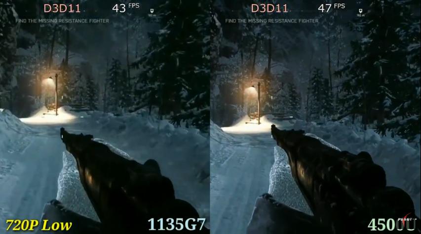 "Comparison of 1135g7 Intel Xe G7 (left) vs 4500u Vega 6 (right) graphics cards in game ""Battlefield V""."