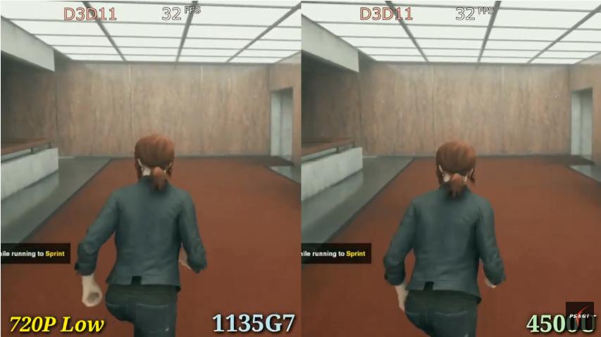 "Comparison of 1135g7 Intel Xe G7 (left) vs 4500u Vega 6 (right) graphics cards in game ""Control""."