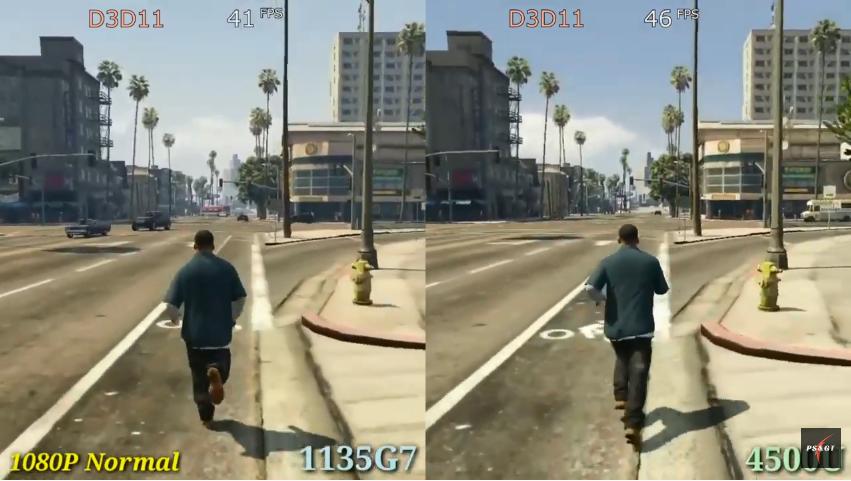 "Comparison of 1135g7 Intel Xe G7 (left) vs 4500u Vega 6 (right) graphics cards in game ""Grand Theft Auto V""."