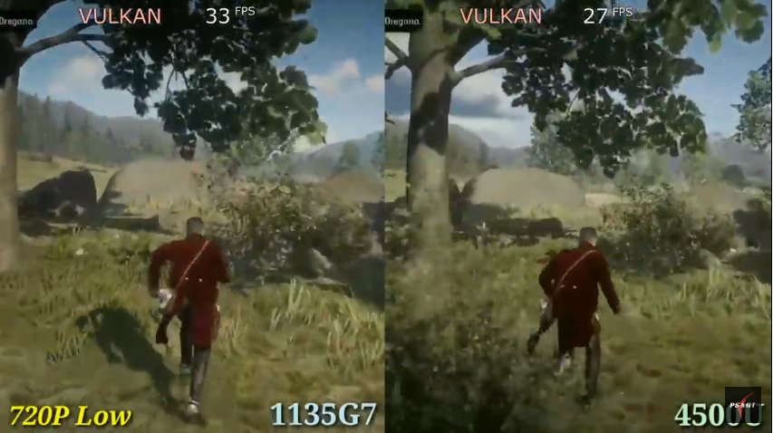 """Comparison of 1135g7 Intel Xe G7 (left) vs 4500u Vega 6 (right) graphics cards in game """"Red Dead Redemption 2""""."""