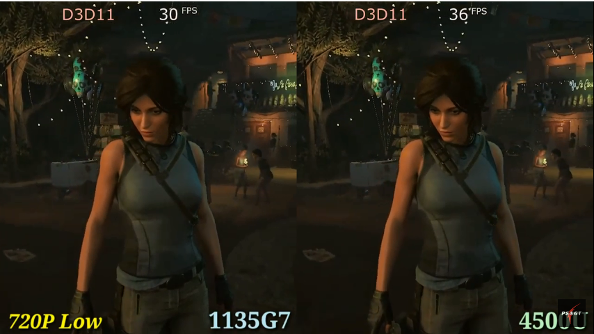 """Comparison of 1135g7 Intel Xe G7 (left) vs 4500u Vega 6 (right) graphics cards in game """"Shadow of the Tomb Raider""""."""
